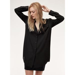 Aritzia Talula Black Collarless Tunic Length Shirt